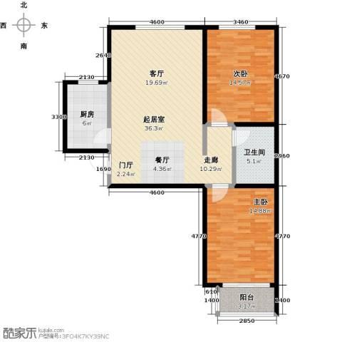 绿朗时光2室0厅1卫1厨90.00㎡户型图