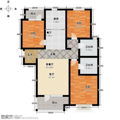 幸福城3室1厅2卫1厨131.00㎡户型图