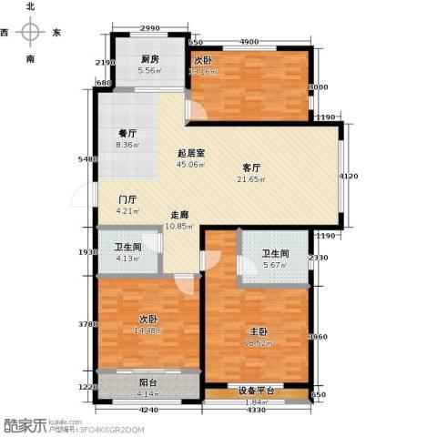 中基碧域3室0厅2卫1厨126.00㎡户型图