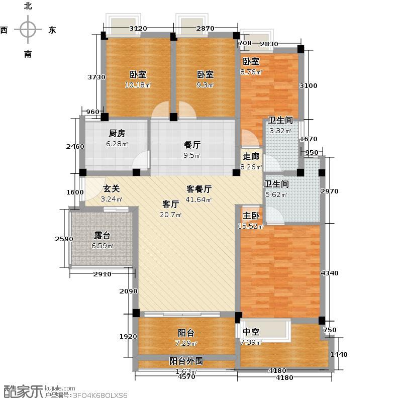 金银湖1号143.00㎡4F户型4室2厅2卫