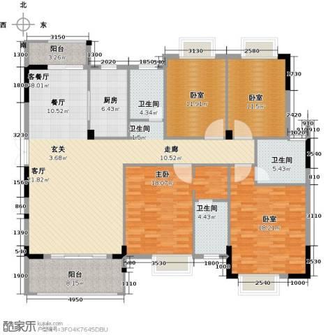 联泰棕榈庄园1室1厅3卫1厨168.00㎡户型图