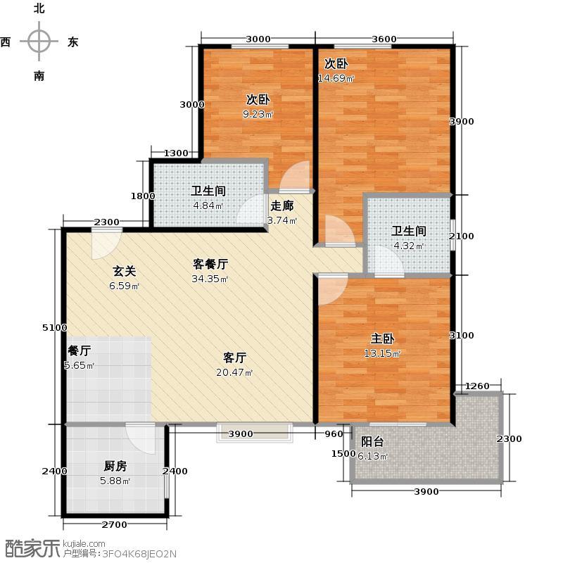 朱雀坊124.00㎡朱雀坊3室2厅2卫124平米F户型3室2厅2卫