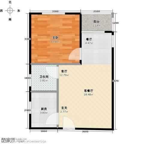 朱雀坊1室1厅1卫1厨51.00㎡户型图