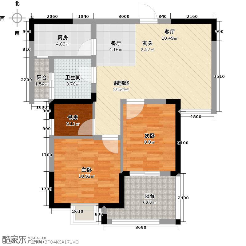 名流人和天地84.00㎡B5户型 3室2厅1卫户型3室2厅1卫