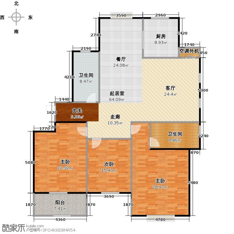 外海中央花园174.63㎡3室2厅2卫户型3室2厅2卫