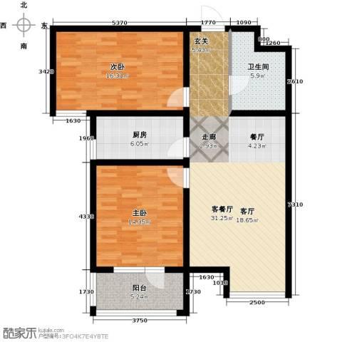 幸福城2室1厅1卫1厨89.00㎡户型图