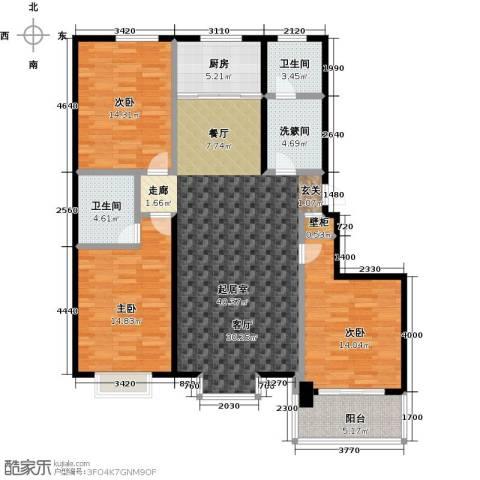 五里华都3室0厅2卫1厨121.00㎡户型图