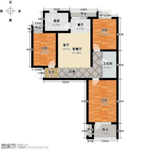 幸福城3室1厅1卫1厨129.00㎡户型图