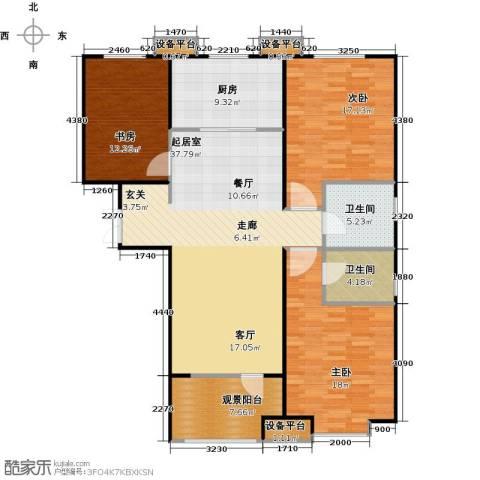 百岛绿城3室0厅2卫1厨138.00㎡户型图