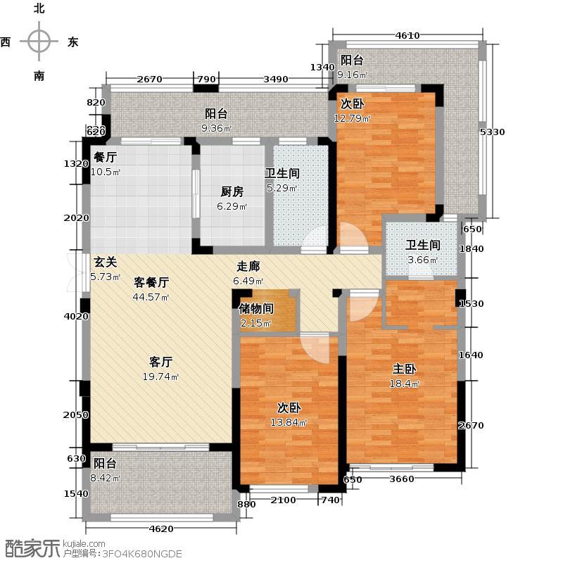 东宝康园154.00㎡A2户型3室2厅2卫