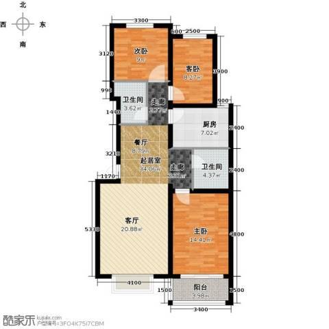 博维水映华廷3室0厅2卫1厨121.00㎡户型图