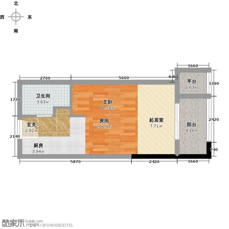 万科金色城市40.00㎡微公寓1A户型 1室1厅1卫户型1室1厅1卫