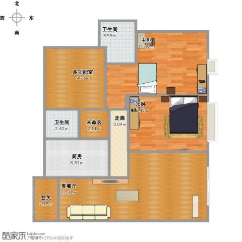ART蓝山2室1厅2卫1厨107.00㎡户型图