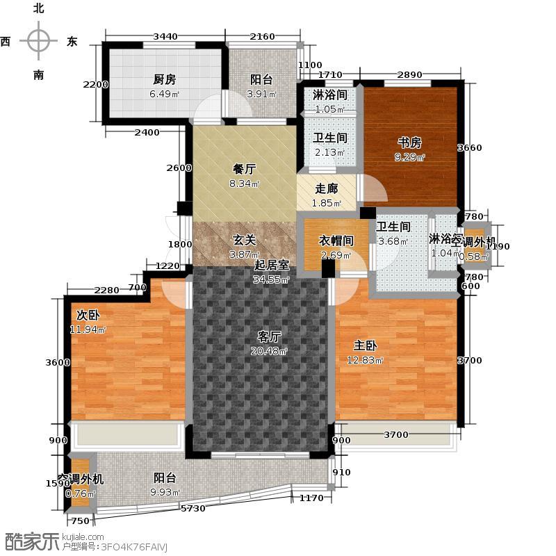 晴湾128.00㎡约128平米 三房两室两卫户型3室2厅2卫