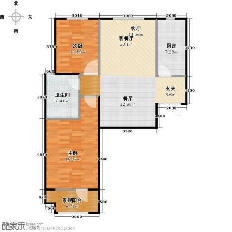 百岛绿城2室1厅1卫1厨106.00㎡户型图