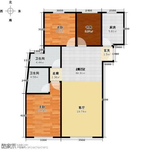 维多利大商城3室0厅2卫1厨110.00㎡户型图