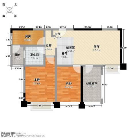 保利香槟国际2室0厅1卫1厨88.00㎡户型图