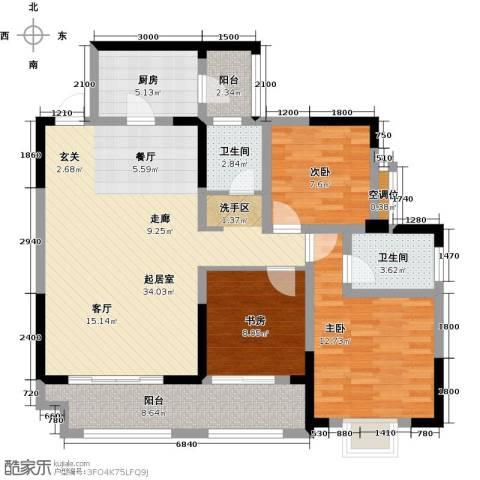 黄河畔岛3室0厅2卫1厨125.00㎡户型图