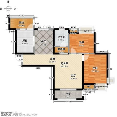 保利玫瑰湾2室0厅1卫1厨111.00㎡户型图
