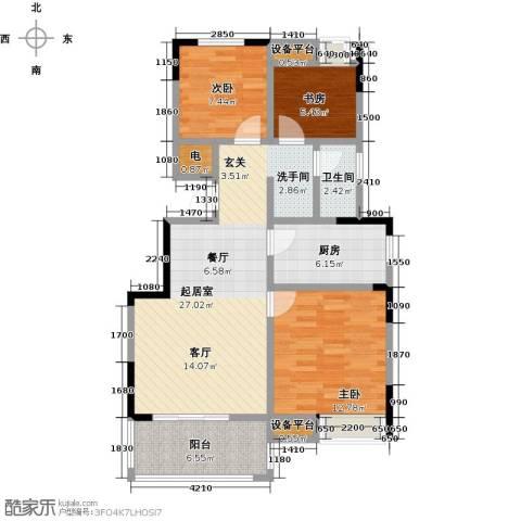 御景城3室0厅1卫1厨89.00㎡户型图