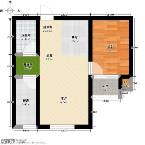 景城时代1室0厅1卫1厨64.00㎡户型图