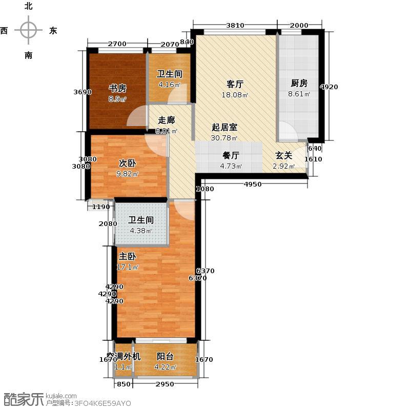 珑�轩101.62㎡户型D 三室两厅两卫户型3室2厅2卫