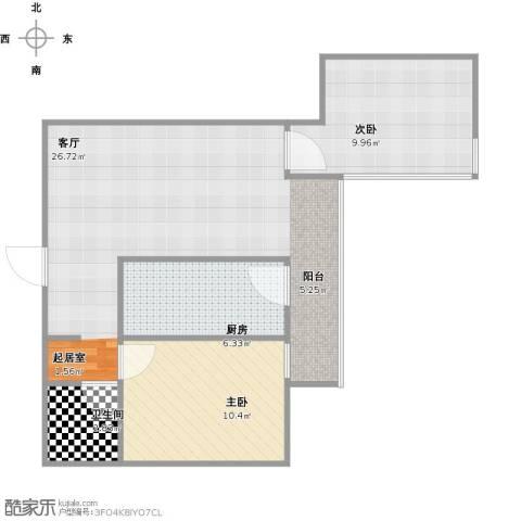 天伦北里2室1厅1卫1厨76.00㎡户型图