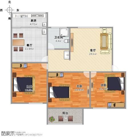 葡萄园小区3室2厅1卫1厨121.00㎡户型图