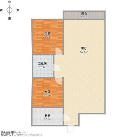 逸东花园2室1厅1卫1厨123.00㎡户型图