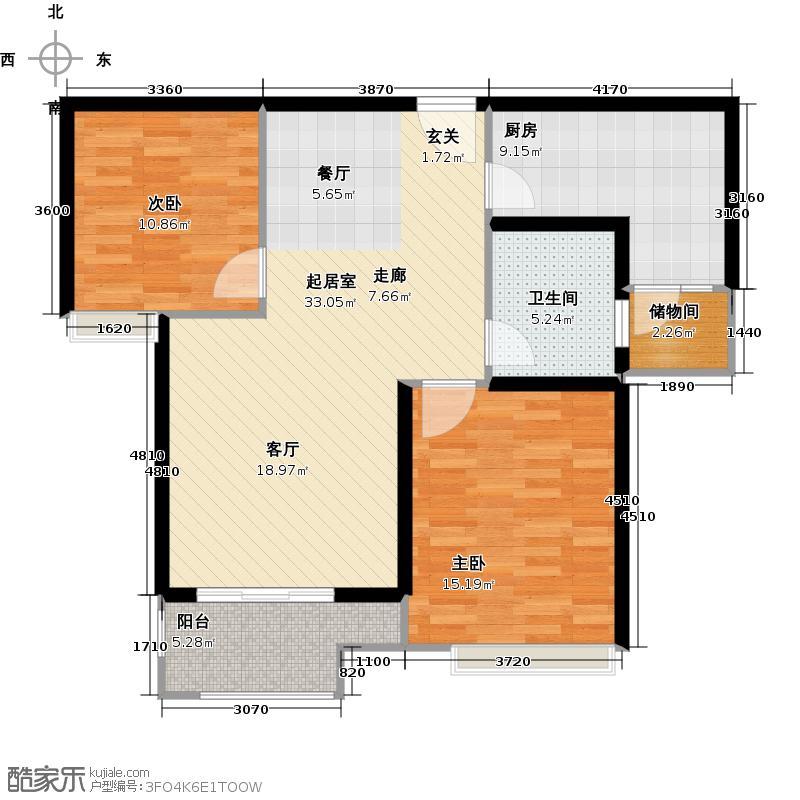 珑�轩86.73㎡二期新品E户型2室2厅1卫