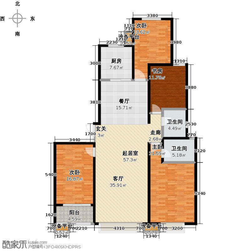 瑞城160.63㎡三期D-6B户型四室两厅两卫户型CC