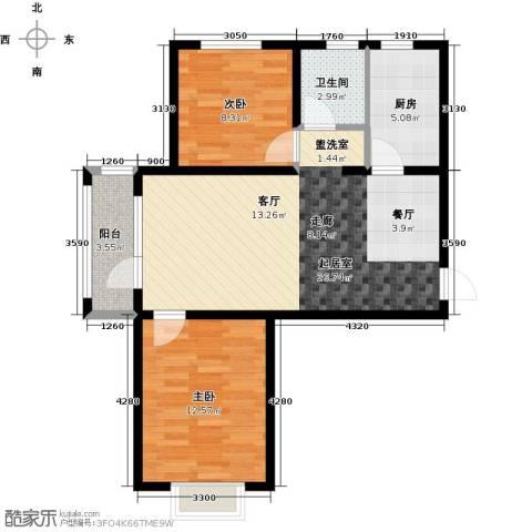 金乾公馆2室0厅1卫1厨85.00㎡户型图