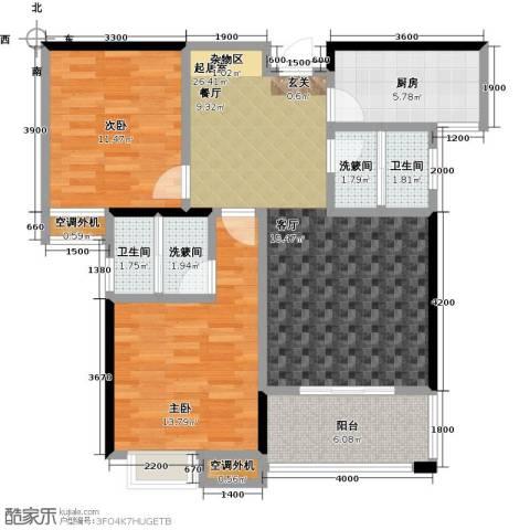 康湾一品2室0厅2卫1厨104.00㎡户型图