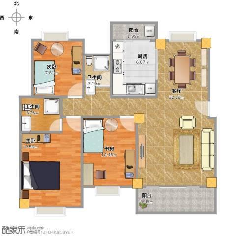 华林东盛花园3室1厅2卫1厨114.00㎡户型图