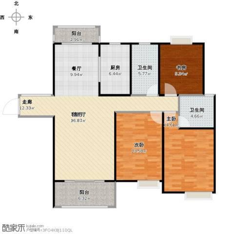 帝奥世伦名郡3室1厅2卫1厨138.00㎡户型图
