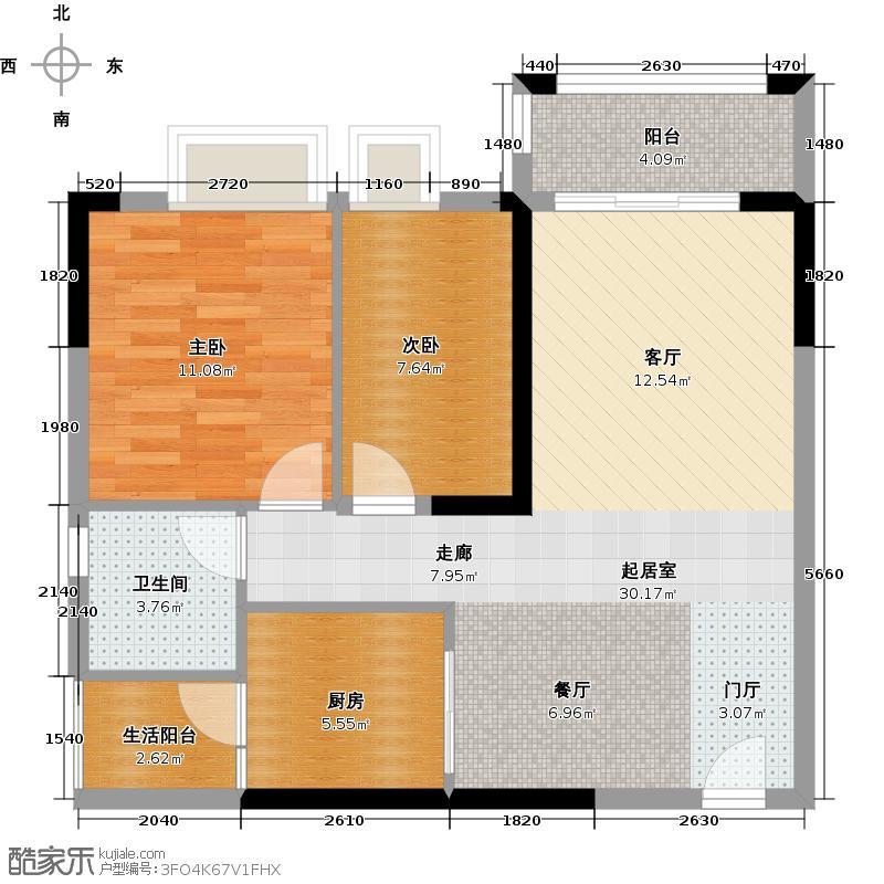 淘金家园C组团C5-1栋05户型2室1卫1厨
