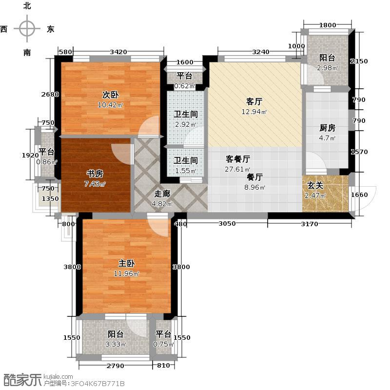 万科金色城市104.00㎡二期D户型3室2厅1卫1厨 104.00㎡户型3室2厅1卫