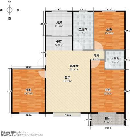 丽景盛园3室1厅2卫1厨134.00㎡户型图