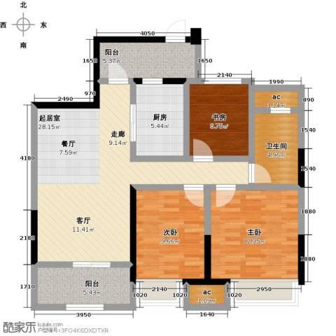 越湖家天下3室0厅1卫1厨94.92㎡户型图