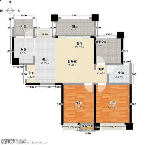 保利香槟国际2室0厅1卫1厨93.00㎡户型图