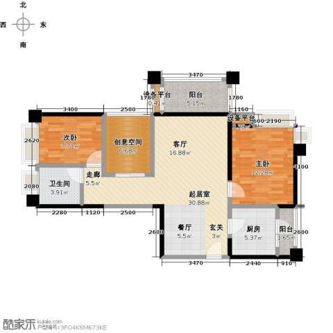 保利香槟国际2室0厅1卫1厨95.00㎡户型图