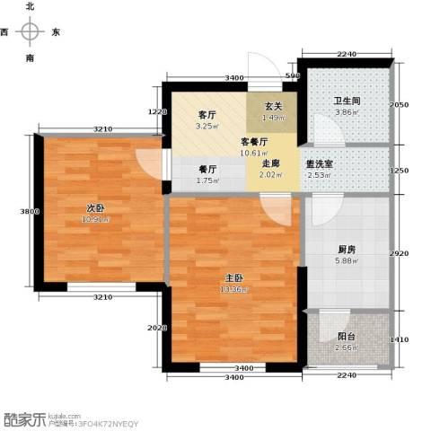 鼎力叶知林2室1厅1卫1厨66.00㎡户型图