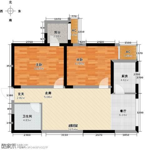 紫郡华宸2室0厅1卫1厨81.00㎡户型图