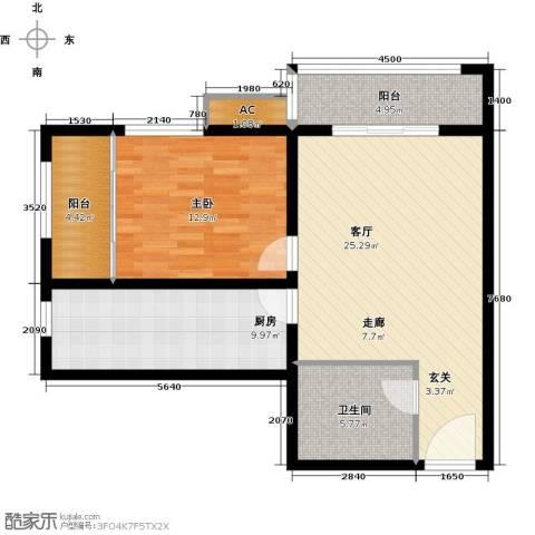 隶都景苑1室1厅1卫1厨74.00㎡户型图
