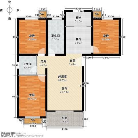 隶都景苑3室0厅2卫1厨125.00㎡户型图