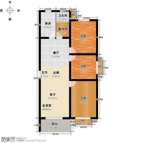 隶都景苑3室0厅1卫1厨113.00㎡户型图