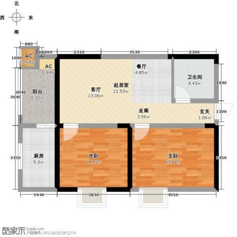 紫郡华宸2室0厅1卫1厨83.00㎡户型图