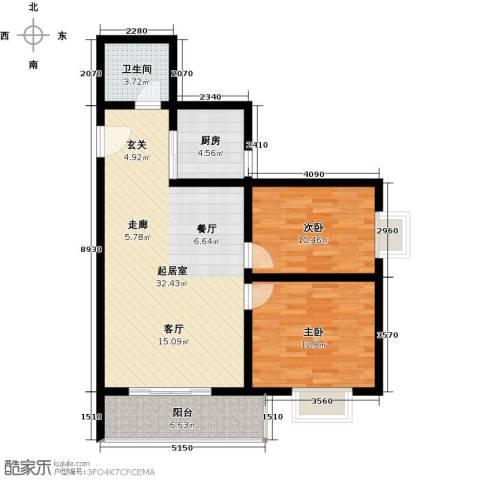 翰林北苑2室0厅1卫1厨80.00㎡户型图