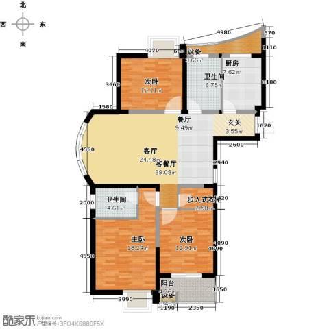 奕翔国际公寓3室1厅2卫1厨131.00㎡户型图