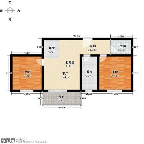 翰林北苑2室0厅1卫1厨87.00㎡户型图